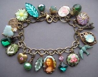 Charm Bracelet - Rhinestone Bracelet - Romantic Jewelry - French Jewelry - Victorian Jewelry - Green Bracelet - Antique Style - Gift for Her