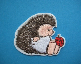 Clearance~ 3 pcs Iron-on embroidered Patch Hedgehog with Ladybug 2.25 inch