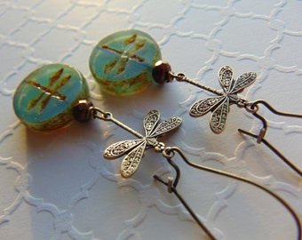 Brass Dragonfly And Glass Earrings