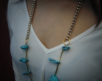Turquoise and brass long Bohemian necklace, Bohemian long gold necklace, long gold necklace, boho chic necklace