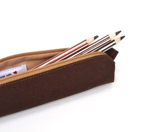 Pencil Case, Canvas Pouch, Zipper Pouch, Small, Simple, Minimalist, Brown