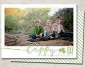 St. Patricks Day card, photo st patricks day card, printable st patricks day card, modern st patricks day card (Happy Shamrock Day)
