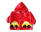 50% half off sale // Vintage 80s Boogie Baby Vinyl Red Rain Coat - 12 Months Boy Girl, Childrens - Yellow Car Design, Made in USA