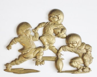 50% half off sale // Vintage 80s Football Player Wall Hangings - Cast Metal - Set of 3 - Childrens Room Decor