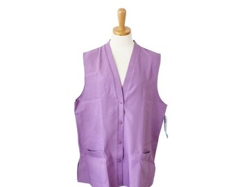 30% off sale // Vintage 80s Levi Strauss and Co Button Down Vest - purple, deadstock, NOS, women XL 2XL, nwt