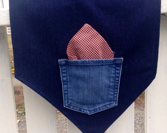 Denim Table Runner, Upcycled Pocket, 14 x 60 inches, best for 4 ft table
