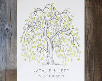 Wedding Guest Book Alternative, unique guestbook,  Medium Willow Tree, fingerprint tree, guest book tree, thumbprint tree, rustic wedding