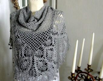 TRIANGLE fringe scarf,crochet GRAY shawl,chunky  collar,neckwarmer,  handmade,lace scarf,stole.