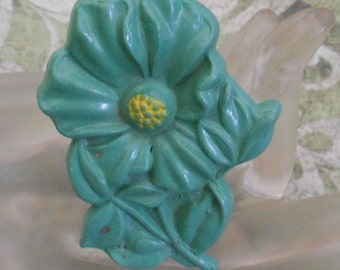1930's Mint Green Celluloid Floral Pin