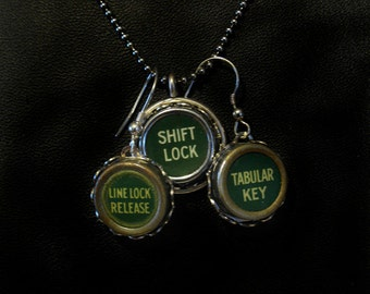 Green Vintage Typewriter Key Pendant Necklace and Matching Earrings
