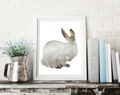 bunny poster in white and taupe, bunny silhouette print, 8x10 rabbit print, woodland nursery decor, gray  whimsical animal art, fall floral