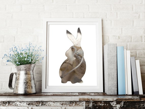 bunny print in taupe gray, animal silhouette art, 8x10 rabbit print, easter bunny decor, whimsical animal art, brown bunny poster gray bunny
