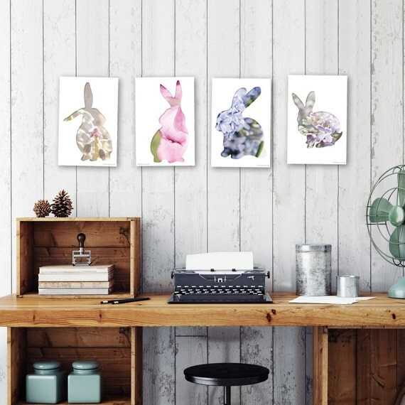 bunny postcard set, animal postcards, set of 4, rabbit silhouette art, woodland nursery decor, pink, lavender, whimsical animal art, minimal