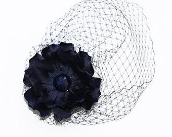 Blue Birdcage Veil And Detachable Side Flower, Mini Birdcage Veil Flower Hair Clip Set, Blue Flower Hair Clip, Veil And Flower Set