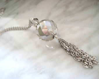 Sparkling Crystal Ball Long Necklace with Chain Fringe