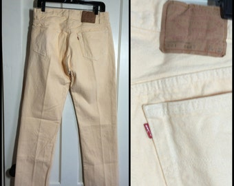 Vintage Levi's Faded Pastel Yellow color 501 34X32 Straight Leg denim Jeans made in USA Boyfriend jeans #1235