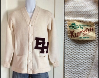 1950's Letter E H Varsity Cardigan all Wool Sweater looks size M-L Patches Karson Excellent Condition