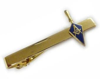 TROWEL Tool Square Compass Master Masonry Masonic Suit Wedding Tie Bar Clip