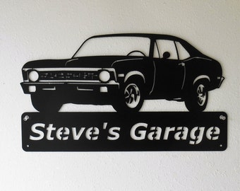 1968-72 Chevy Nova - Personalized Metal Sign- Man Cave- Classic Car - Muscle Car -Garage Sign -Satin black