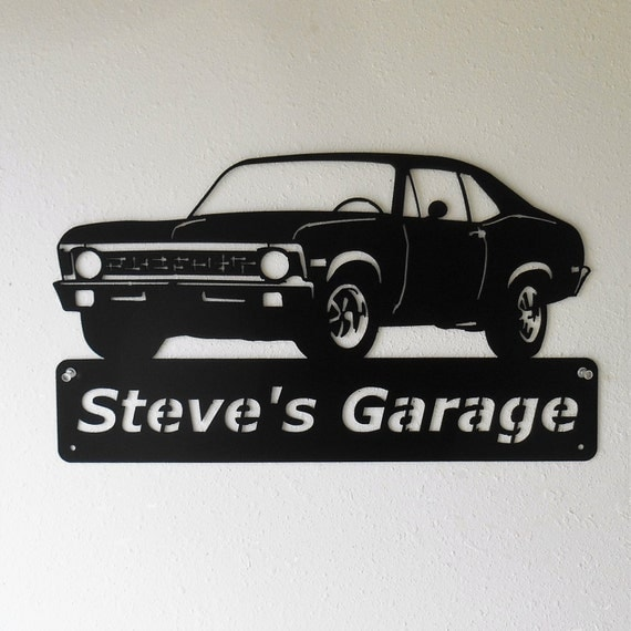 1971 Chevy Nova - Personalized Metal Sign- Man Cave- Classic Car - Muscle Car -Garage Sign -Satin black