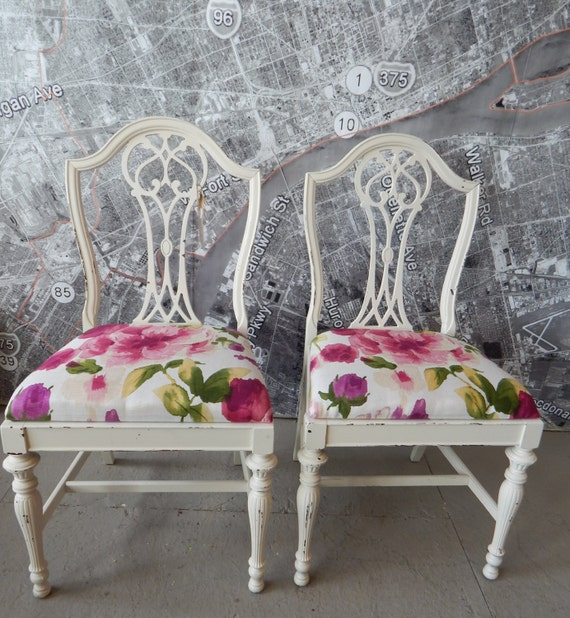 Vintage pair dining desk chairs pink floral shabby chic