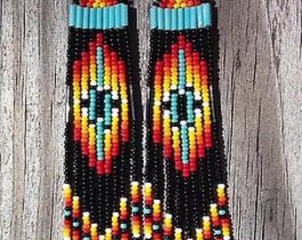 "Native American style 4"" feather Beaded Earrings"