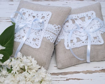 Set of 2 Wedding Ring Bearer Pillows Rustic Ring Pillows Linen Pillows Wedding Decoration