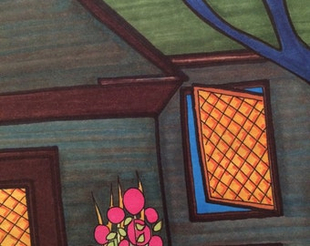 Original ink drawing, architectural art, house drawing, flower art, porch, geometric, windows, tree, roof, colorful