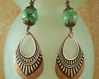Gypsy Cowgirl Earrings - Green Howlite with Copper Plated Tribal Dangles