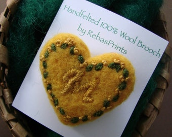 Monogram wool felted heart brooch pin, Valentine's Day