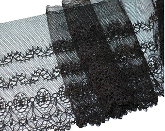 "15cm Victorian Lace, By The Yard, 6"" Black Silk Lace Linen Trim"