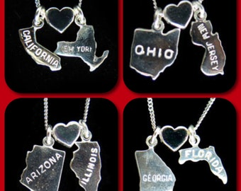 State Loves State - Sterling Silver Chain and Silver Charm Necklace