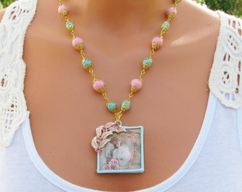 Turquoise and Pink Soldered Pendant Necklace, Vintage Lady, Vintage earring, czech beads