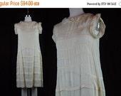 40% OFF 20s Dress Vintage 1920s Silk Sheer Ivory Cream Cutwork Tucks Sleeveless Wedding Flapper Style XS S