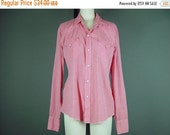 """40% OFF 50s Western Pearl Snap Shirt Vintage 1950s H Bar C Ranchwear Mens Red White Gingham Country As Is Chest 46"""" 2Xl"""