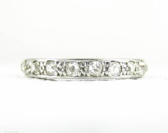 Antique Platinum Diamond Eternity Ring, Old Mine Cut Diamond Full Hoop Wedding, Anniversary Ring, Engraved Sides. Circa 1900s, Size L.25 / 6