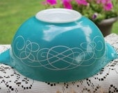 Vintage Aqua 443, 2 1/2 Quart Pyrex Scroll/Swirl Mixing Bowl, Very Nice, RESERVED for JUDY.