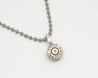 Bullet Casing Necklace - 9mm Bullet Casing Necklace / Pendant / Charm Nickel Plated - Stainless Steel Ball Chain