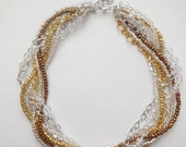 Braided statement chunky necklace rhinestone gold silver copper chain clear beaded twisted necklace
