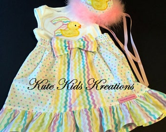 Toddler Girl Birthday Hat, Bodysuit, and Ruffle Skirt, Second Birthday, Rubber Duck, Size 24M/2T, Photo Prop, Ready to Ship