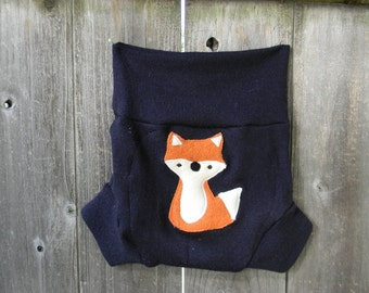 Upcycled Merino Wool Soaker Cover Diaper Cover With Added Doubler Navy Blue  With Fox Applique LARGE 12-24M Kidsgogreen