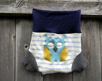 Upcycled Wool Soaker Cover Diaper Cover With Added Doubler White & Blue Stripes/ Gary/ Navy  With Owl Applique LARGE 12-24M Kidsgogreen