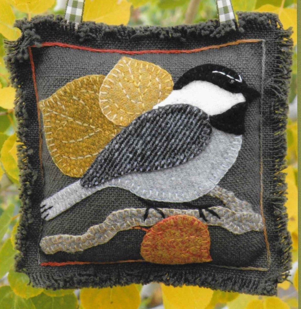 Wool Applique Pattern Chickadee On Aspen Winter Decor