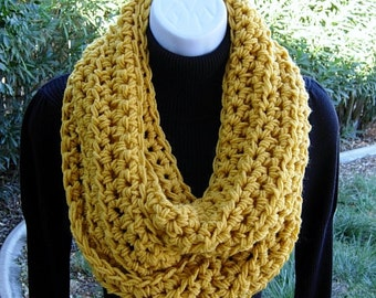Mustard INFINITY SCARF, Solid Yellow Cowl, Women's Bulky Chunky Handmade Crochet Knit Soft Winter Loop Circle Scarf, Ready to Ship in 2 Days