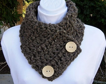 NECK WARMER SCARF Taupe Grey Gray Brown Tweed, Color Options, Wool Acrylic Blend, Natural Wood Buttons, Winter Cowl..Ready to Ship in 2 Days