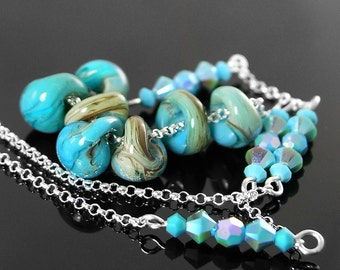 Artisan Glass Turquoise Necklace Sterling Silver Necklace Turquoise Blue Drop Lampwork Necklace Blue Bead Chain Necklace Boro Glass Jewelry