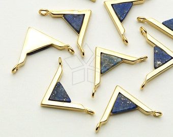 PD-1442-GD / 2 Pcs - Gemstone Metal Mix Pendant, Lapis Lazuli V Shape Sideways, Gold Plated over Brass / 18mm x 12mm