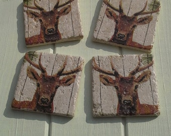 Deer Stone Coaster Set of 4 Tea Coffee Beer Coasters