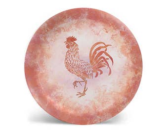 Rooster melamine plate, coral dinner plate, decorative plate, salad plate, dessert plate, dinnerware, 8 inch plate, 10 inch plate