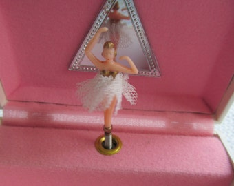 Vintage Girls Music Jewelry Box with Turning Ballerina Mele Taiwan You Light Up My Life Song